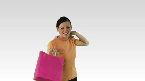 Merry Woman with shopping bags Footage