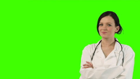 Chroma Key Footage of Young Female Doctor Footage