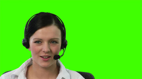 Chroma Key footage of a woman on a Headset Footage