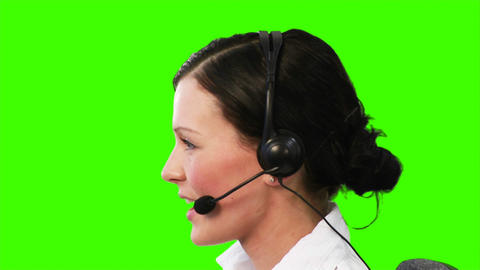 Chroma Key footage of a woman on a helpdesk Footage