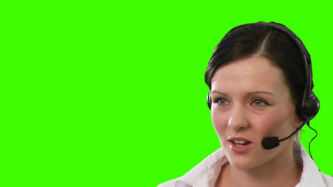 Woman on a headset talking Stock Video Footage