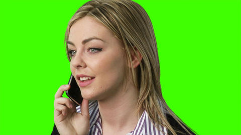 ChromaKey - woman on telephone Footage