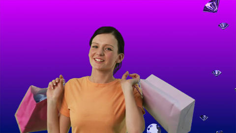 Happy Woman Shopping Stock Video Footage