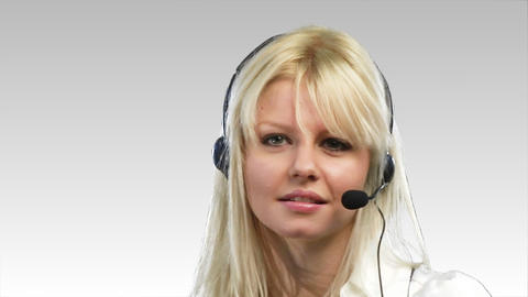 Woman on headset smiling Footage