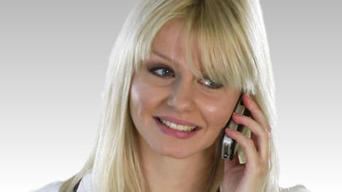 Attractive Blonde Woman on the phone Footage