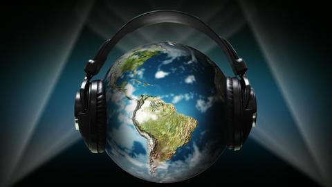 Globe with earphones on it Animation