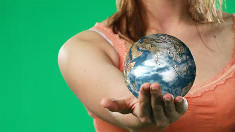 Woman Holding a Globe in her hand Stock Video Footage