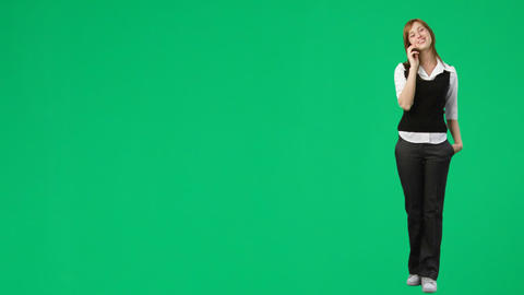 Green Screen Footage of a woman on the phone Stock Video Footage