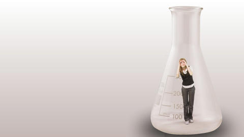 Businesswoman stuck in a bottle Animation