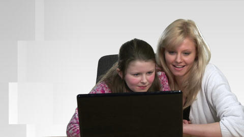 Mother helping Child on Computer Stock Video Footage