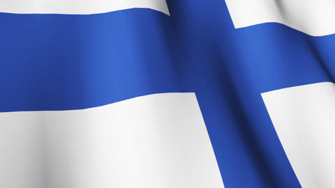 Isolated Blowing Flag of Finland Animation