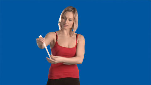 Woman measuring herself Stock Video Footage