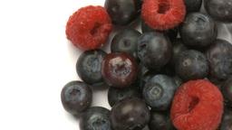 raspberries and blueberries 2 Stock Video Footage