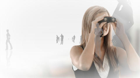 Woman watching through a spy Stock Video Footage