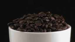 Cup With Coffee Beans stock footage
