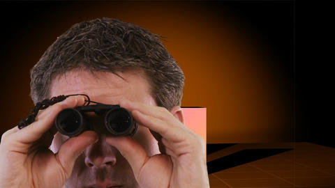 Businessman looking through Binoculars Stock Video Footage