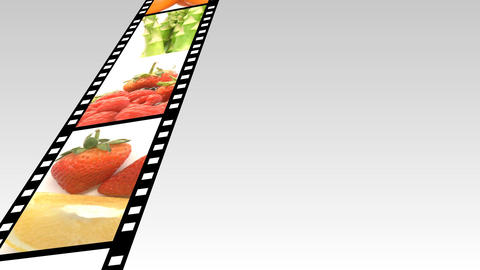 Assortment of Fruit and veg on a film reel 2 Animation