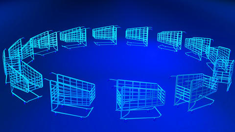 3D Shopping Trolleys Footage