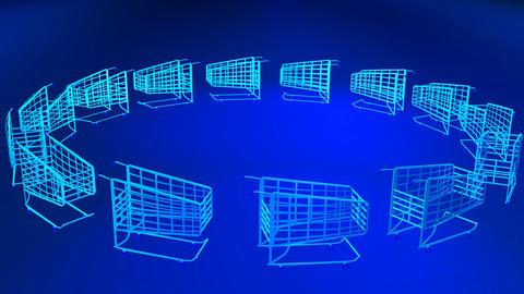 3D Shopping Trolleys Footage