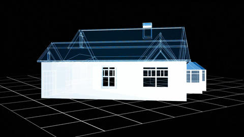 Wireframe house Animation
