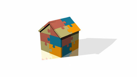 3d Jigsaw House Stock Video Footage