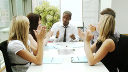 Business team applauding in a meeting Footage