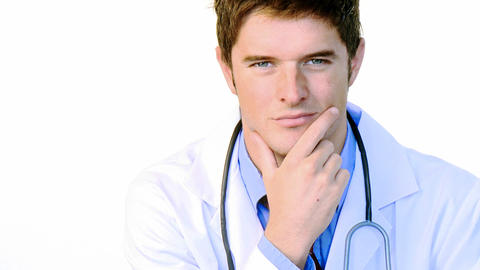 Handsome doctor looking at the camera footage Footage