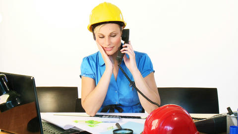 Architect woman on phone in office Footage