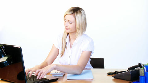 Thoughtful businesswoman working in office Footage