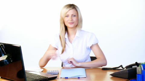 Businesswoman working hard in office footage Stock Video Footage