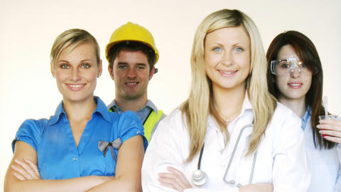 Multiprofession - Doctor, businesswoman, engineer Stock Video Footage