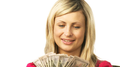 Young smiling woman with dollars Footage