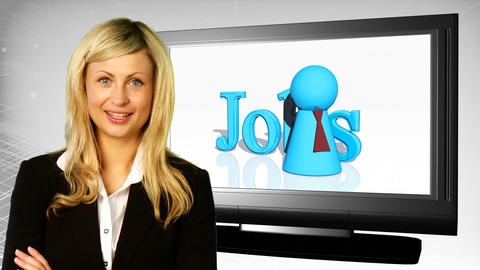 Woman on front of Jobs Sign Stock Video Footage