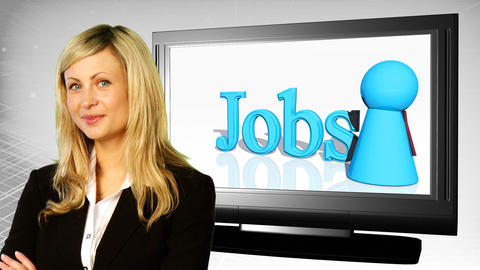 Woman on front of Jobs Sign Animation