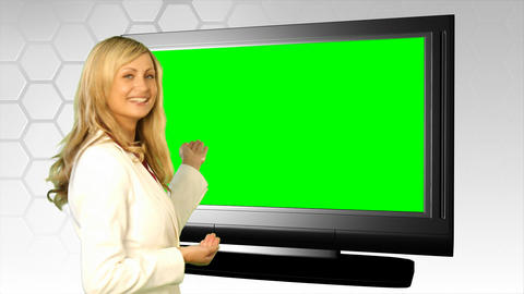 Woman Standing In Front Of Wind Screen stock footage