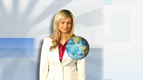 Woman Holding Spinning Globe Stock Video Footage