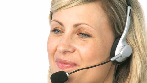 Woman Talking on a Headset Stock Video Footage