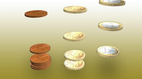 3d Coins falling Stock Video Footage