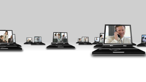 3D animation showing laptops Animation
