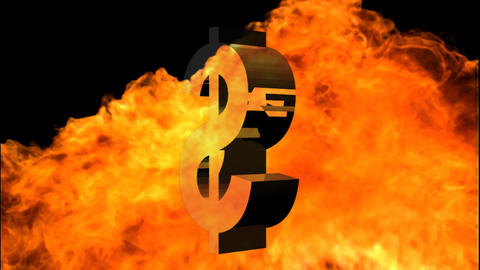 Dollar sign Engulfed in Flames Footage