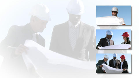 Collage footage of Constuction workers Stock Video Footage