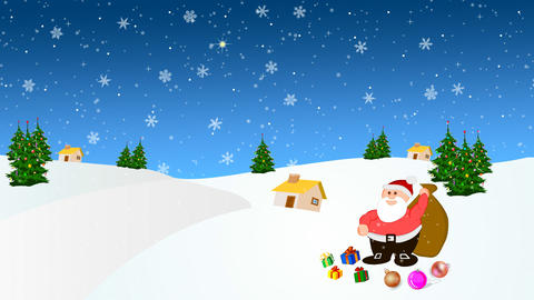 Santa Claus in the snow with a lot of presents Footage