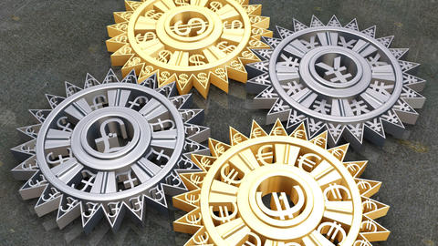 Cogs and gears of different currencies in motion Footage