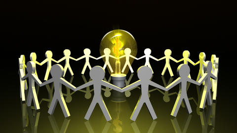 Icon people in a circle with a lightbulb in the ce Footage