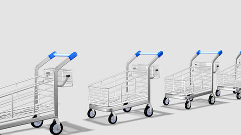 Trolleys in motion. Concept of consumer society Footage