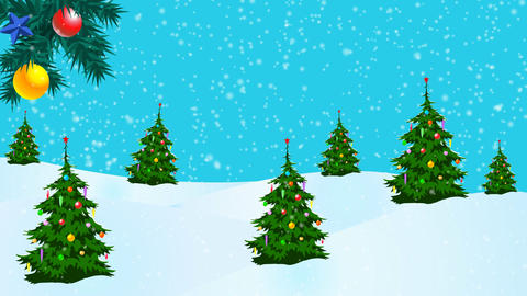 Santa flying in a sleigh over the snow Animation