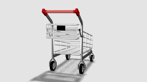 Trolley rotating. Consumerism concept Footage