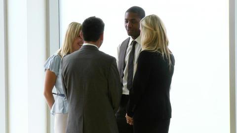 Business people speaking in workplace footage Footage