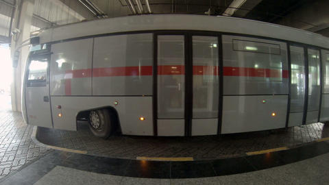 Passenger Bus Parked At The Sharjah International  stock footage