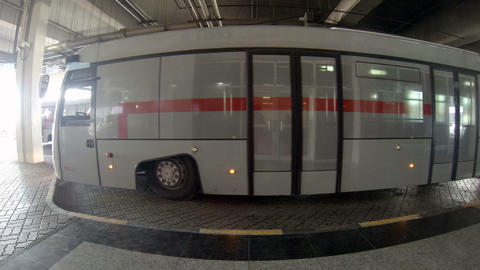 Passenger bus parked at the Sharjah International Stock Video Footage